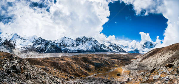 Panoramic view on the mountain peaks and glacier near Everest ba Stock photo © Arsgera