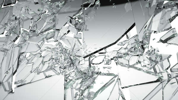 Sharp Pieces of shattered glass isolated on white Stock photo © Arsgera