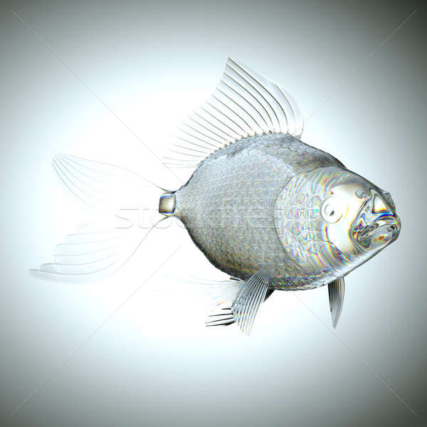 Glassy semitransparent fish with scales and fins Stock photo © Arsgera