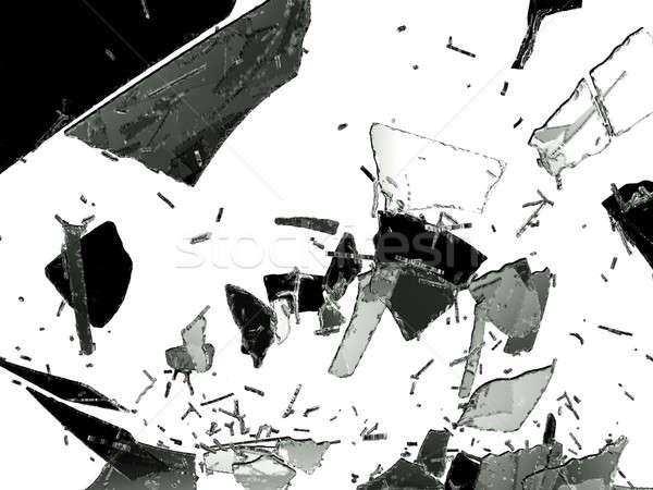 割れたガラス ピース 孤立した 白 ストックフォト © Arsgera