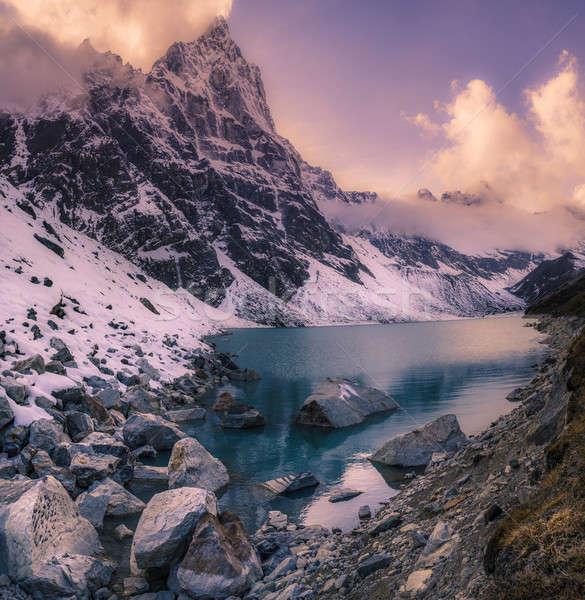 Pôr do sol himalaia montanhas panorama viajar céu Foto stock © Arsgera