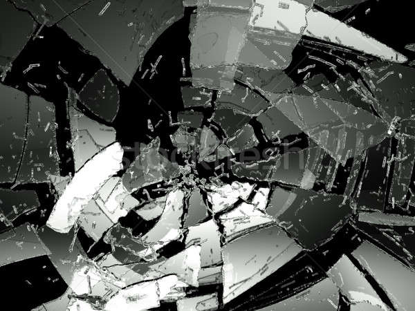 Pieces of Destructed glass on black Stock photo © Arsgera
