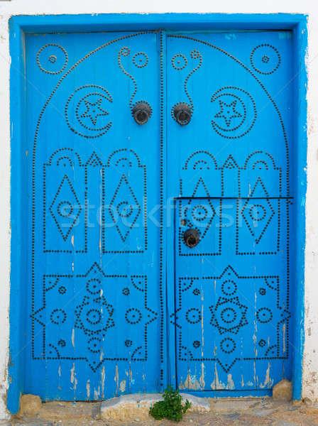Azul porta arco parede Foto stock © Arsgera