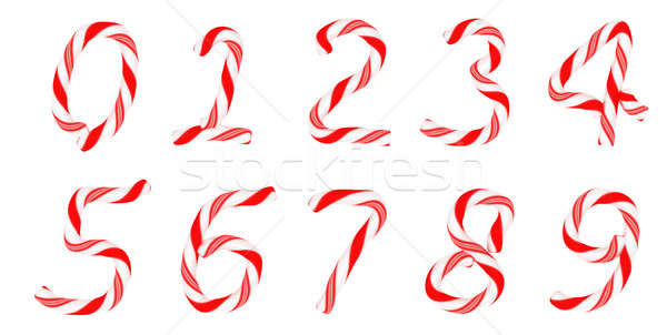 Stock photo: Candy cane font 0-9 numerals