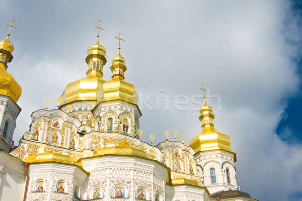Or coupole orthodoxe église nuageux ciel Photo stock © Arsgera