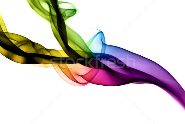 Stock photo: Abstract colorful fume shapes on white