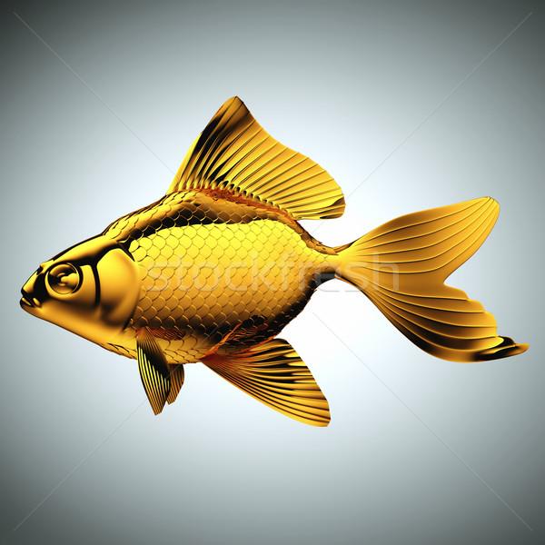 Goldfish made of gold on gray Stock photo © Arsgera
