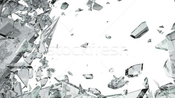 Peças vidro quebrado isolado branco grande tamanho Foto stock © Arsgera