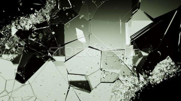 Agrietado vidrio piezas negro grande Foto stock © Arsgera