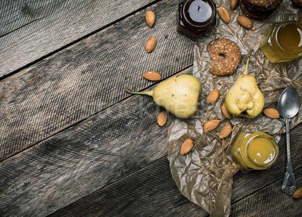груши Cookies меда орехи деревянный стол деревенский Сток-фото © Arsgera