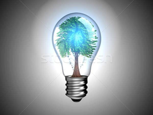 Lightbulb with blue light and tree Stock photo © Arsgera