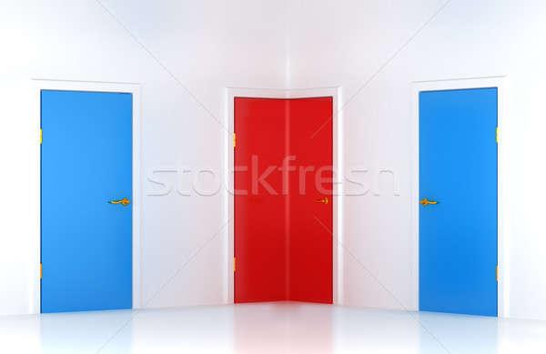 Choosing the right way: conceptual corner door Stock photo © Arsgera
