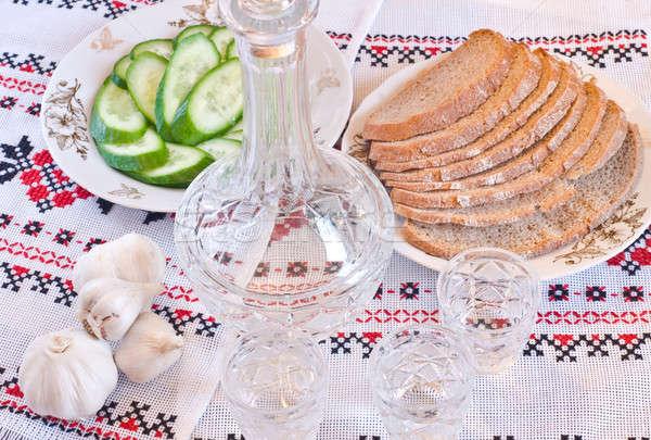 Votka ekmek salatalık havlu restoran Stok fotoğraf © Arsgera