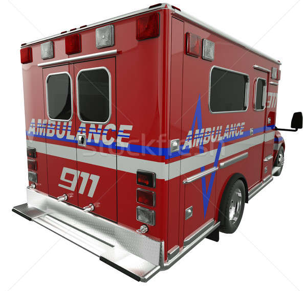 Ambulance: Rear view of emergency services vehicle on white Stock photo © Arsgera