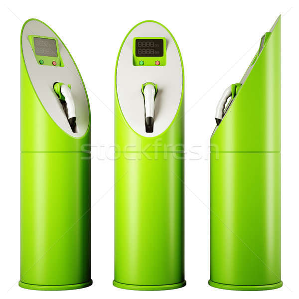 Eco fuel and energy: three charging stations for vehicles Stock photo © Arsgera