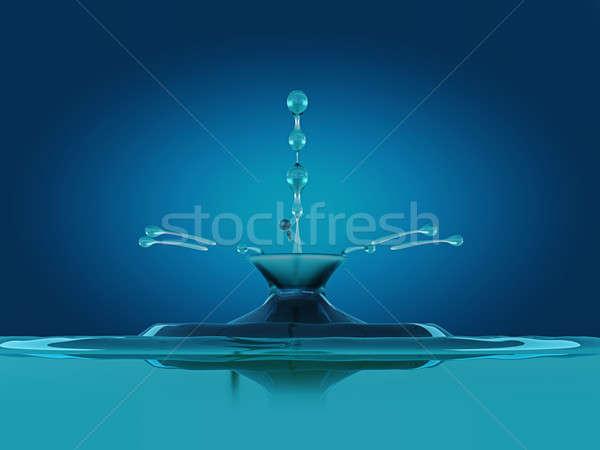 Splash druppels Blauw vloeibare splatter golven Stockfoto © Arsgera