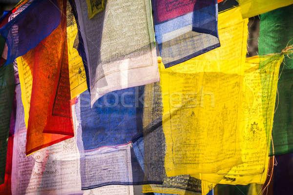 Colorido oración banderas símbolo budismo religión Foto stock © Arsgera