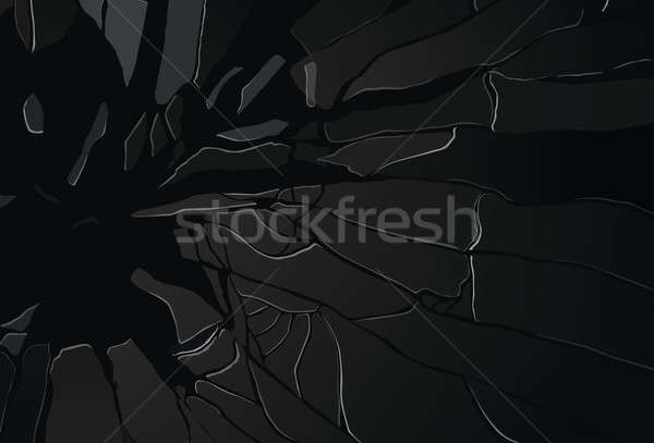 Pieces of shattered glass on black Stock photo © Arsgera