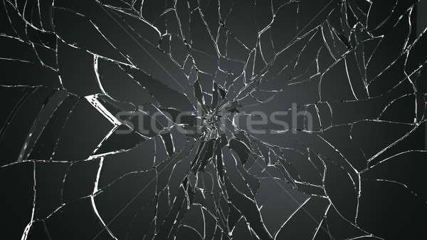Many pieces of shattered glass on white background Stock photo © Arsgera