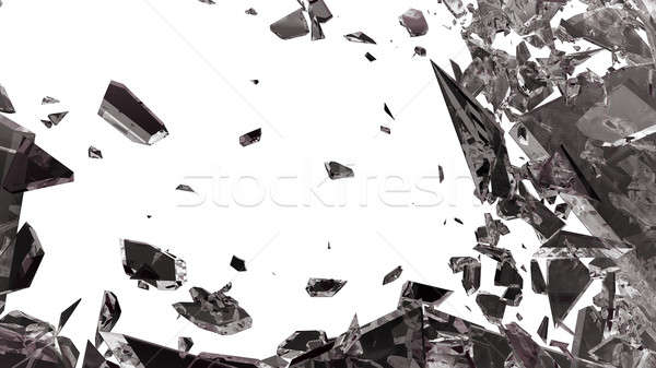 éles darabok törött üveg izolált fehér absztrakt Stock fotó © Arsgera