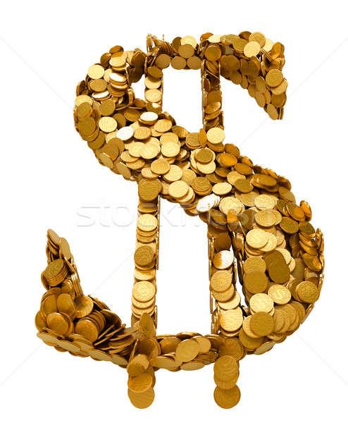 Dolar symbol monet odizolowany biały metal Zdjęcia stock © Arsgera