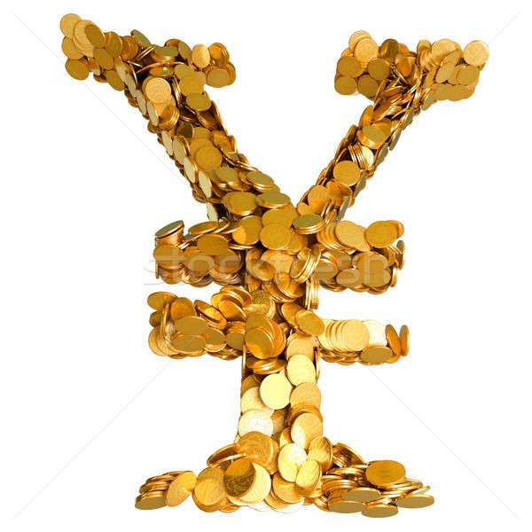 Yen valuta stabilitás szimbólum érmék izolált Stock fotó © Arsgera