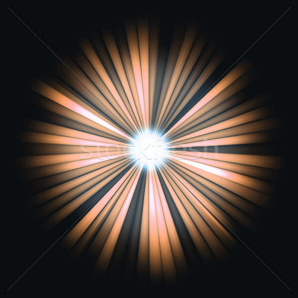Stock photo: Red Beams of light: shining star in the dark