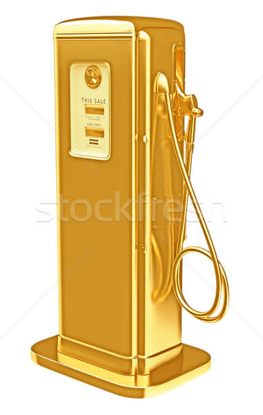 Costly fuel: golden gasoline pump isolated Stock photo © Arsgera