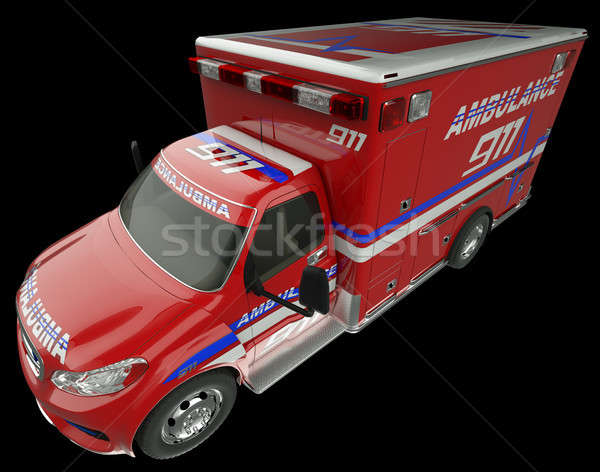 Ambulance: Top Side view of emergency services vehicle on black Stock photo © Arsgera