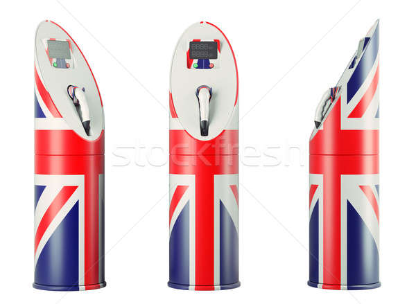 Eco fuel: isolated charging stations with Union Jack flag patter Stock photo © Arsgera