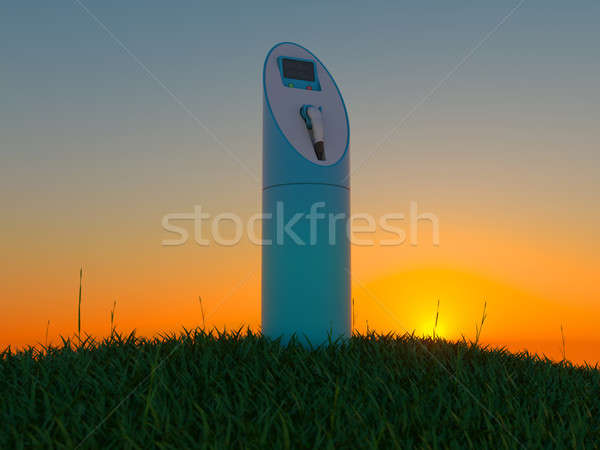 Charging station in the green field at dawn Stock photo © Arsgera