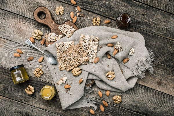 Cookies меда орехи деревянный стол деревенский стиль Сток-фото © Arsgera