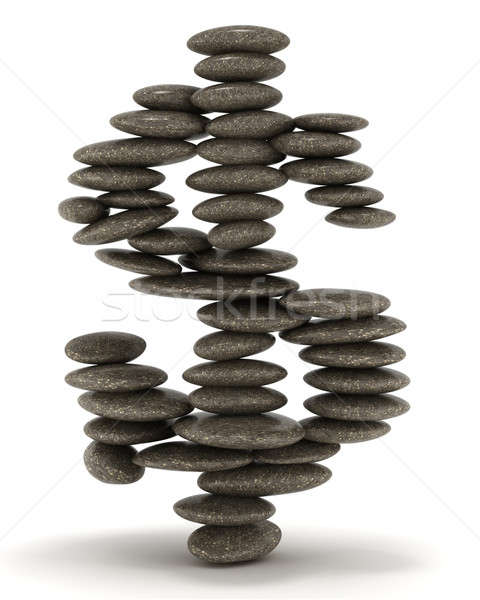 Pebble tower shaped as dollar sign Stock photo © Arsgera