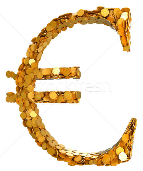 Euro currency and cash. Symbol assembled with coins Stock photo © Arsgera