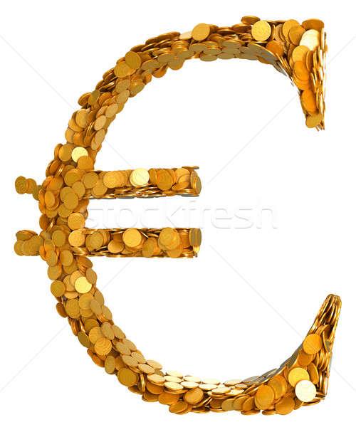евро валюта наличных символ монетами изолированный Сток-фото © Arsgera