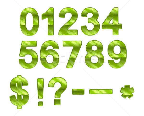 Green ecofriendly 0-9 numerals with grass pattern Stock photo © Arsgera