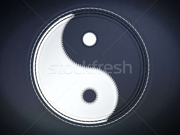 Yin yan stitched symbol on leather Stock photo © Arsgera