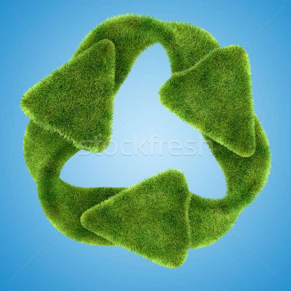 Ecology: green grass recycling symbol  Stock photo © Arsgera