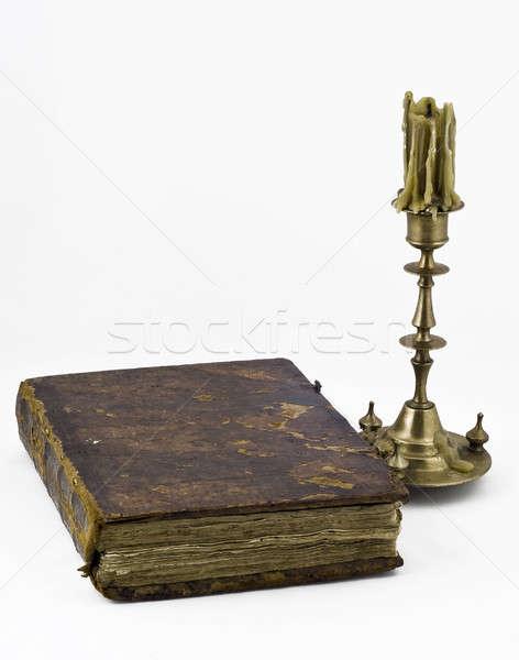 świecznik książki starych antyczne papieru Świeca Zdjęcia stock © Arsgera