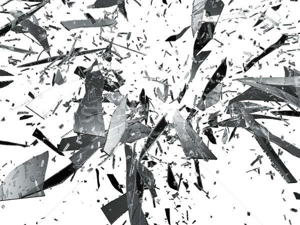 Sharp pieces of smashed glass isolated Stock photo © Arsgera