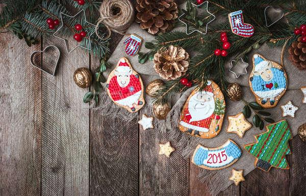 Navidad decoración cookies rústico estilo libre Foto stock © Arsgera