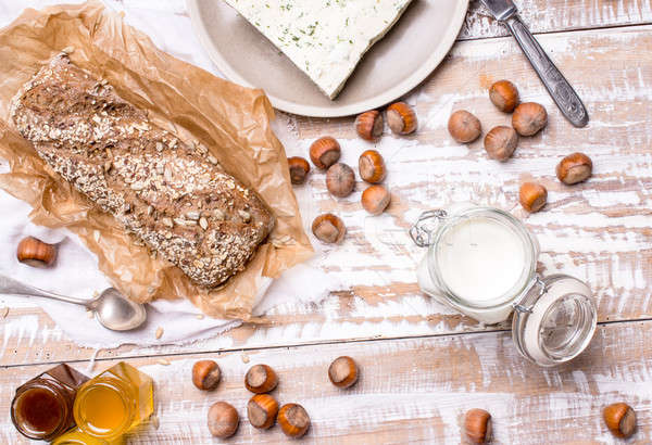 Bread with seeds and cheese for breakfast Stock photo © Arsgera