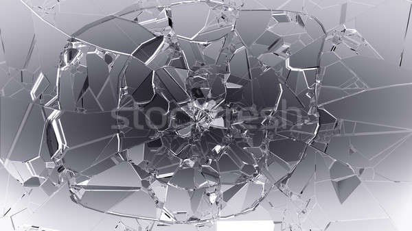 Splitted or cracked glass on white Stock photo © Arsgera
