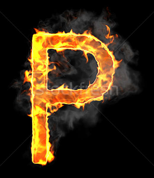 Burning and flame font P letter Stock photo © Arsgera
