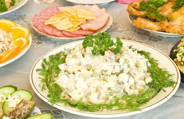Banket restaurant russisch salade gericht een Stockfoto © Arsgera