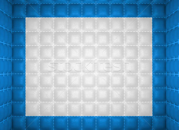 Soft room concept. Blue and white stitched leather pattern Stock photo © Arsgera
