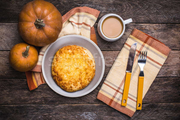Lunch coffee with flatbread and pumpkins on wooden table Stock photo © Arsgera