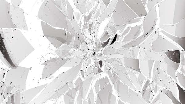 Piezas roto agrietado vidrio blanco grande Foto stock © Arsgera