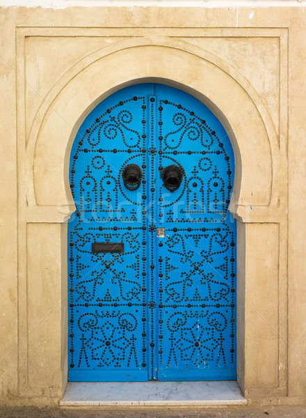 Blue aged door with ornament from Sidi Bou Said Stock photo © Arsgera