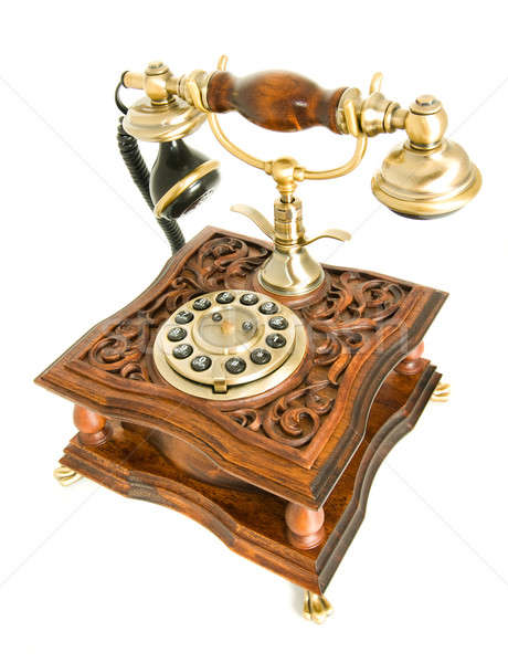 Antique telephone isolated over white Stock photo © Arsgera